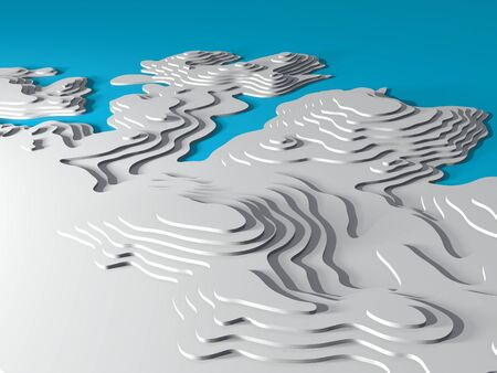 3D Topographic map background concept. Topo map. Rendering. 3D rendering abstract illustration. Hills, valleys and mountains. Geography concept. Wavy backdrop. Cartography and topology. Stock Photo