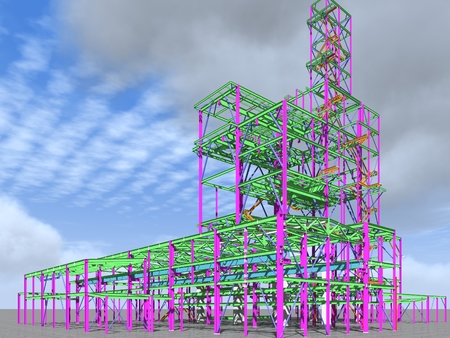 3D model of an industrial building made of metal structures. Abstract background of construction, design, installation and survey. 3D rendering. 写真素材