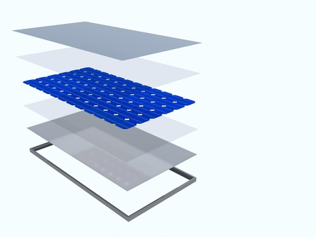 3D rendering. The internal structure of the solar panel. Solar panel consisting of several layers. Alternative energy. The components of the solar panel. Banco de Imagens