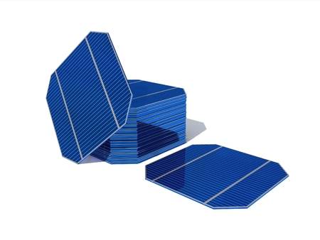 3D rendering. A set of modules for assembling solar panels at home isolated on white background. Collect the solar panel for the house. Фото со стока