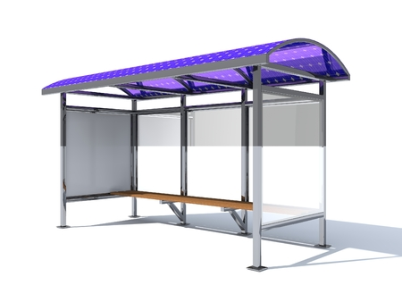 Bus stop equipped with flexible solar panels for lighting and charging of mobile gadgets. Ecological urban environment. 3D rendering. 版權商用圖片