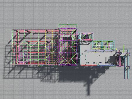 BIM model of a building made of metal construction, metal structure. 3D architectural, construction, industrial and engineering background. 3D rendering. Imagens