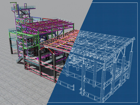 BIM-Modell eines Gebäudes aus Metallkonstruktion, Metallkonstruktion. 3D Architektur-, Bau-, Industrie- und Ingenieurhintergrund. 3D-Rendering. Blaupause zeichnen. Standard-Bild