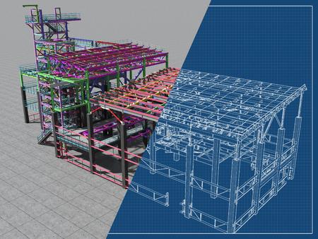 Modello BIM di un edificio realizzato in struttura metallica, struttura metallica. Background architettonico, edilizio, industriale e ingegneristico 3D. Rappresentazione 3D. Progetto di disegno. Archivio Fotografico