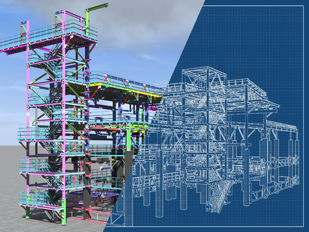 BIM model of a building made of metal construction, metal structure. 3D architectural, construction, industrial and engineering background. 3D rendering. Drawing blueprint. Stock Photo