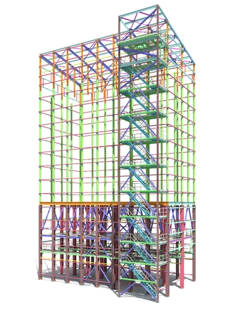 BIM model of a building made of metal structure. 3D architectural, construction, industrial and engineering background. Modern design drawings. 3D rendering. Isolated.