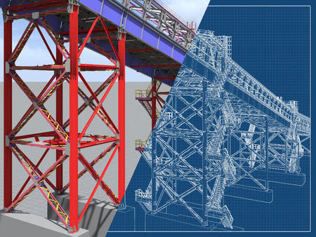 BIM model. 3D structure of building steel structures of industrial transportation gallery. Engineering, construction and industrial background. 3D rendering. Drawing blueprint. Stockfoto
