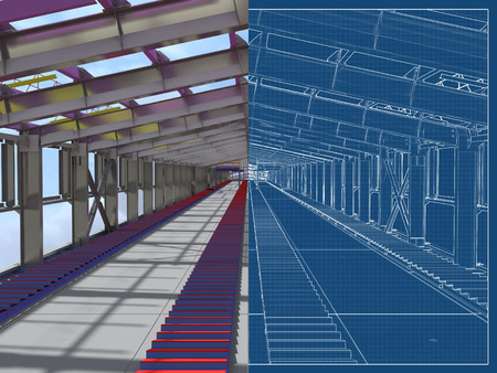 BIM model. 3D structure of building steel structures of industrial transportation gallery. Engineering, construction and industrial background. 3D rendering. Drawing blueprint. 免版税图像