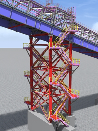 BIM model. 3D structure of building steel structures of industrial transportation gallery. Engineering, construction and industrial background. 3D rendering.