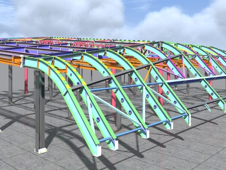 BIM model of metal structure. The building is made of metal structures. Building information model. Architectural, engineering and construction background. 3D rendering.