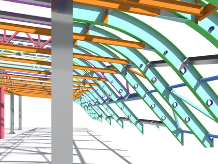 BIM model of metal structure. The building is made of metal structures. Building information model. Architectural, engineering and construction background. 3D rendering. White background. Zdjęcie Seryjne