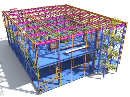 Building Information Model of metal structure. 3D BIM model. The building is of steel columns, beams, connections, etc. 3D rendering. Engineering, industrial, construction BIM background. Фото со стока