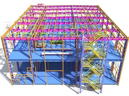 Building Information Model of metal structure. 3D BIM model. The building is of steel columns, beams, connections, etc. 3D rendering. Engineering, industrial, construction BIM background. Banque d'images