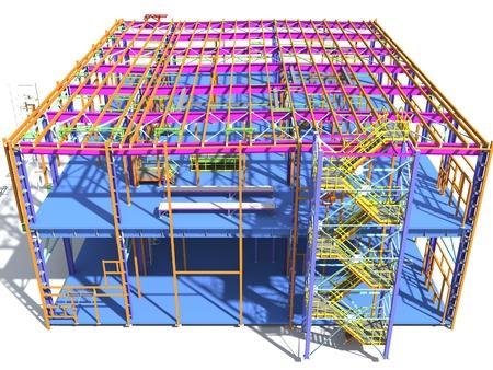 Building Information Modello di struttura metallica. Modello BIM 3D. L'edificio è costituito da colonne in acciaio, travi, collegamenti, ecc. Rendering 3D. Ingegneria, industria, costruzione BIM background.