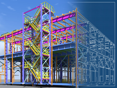 Building Information Model of metal structure. 3D BIM model. The building is of steel columns, beams, connections, etc. 3D rendering. Engineering, industrial, construction BIM background. Stockfoto