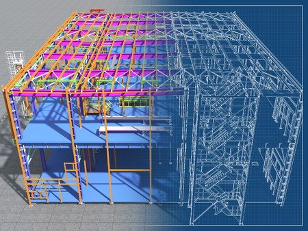 Building Information Model of metal structure. 3D BIM model. The building is of steel columns, beams, connections, etc. 3D rendering. Engineering, industrial, construction BIM background. Standard-Bild