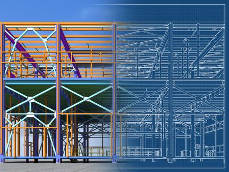 Building Information Model of metal structure. 3D BIM model. The building is of steel columns, beams, connections, etc. 3D rendering. Engineering, industrial, construction BIM background. Foto de archivo