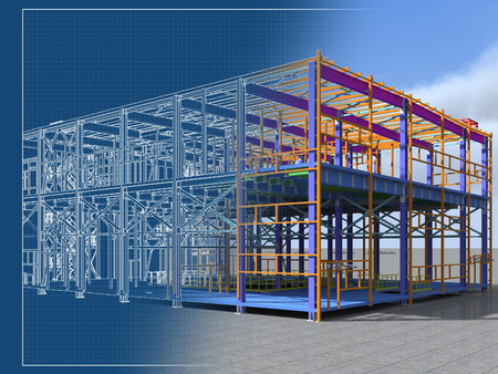 Building Information Model of metal structure. 3D BIM model. The building is of steel columns, beams, connections, etc. 3D rendering. Engineering, industrial, construction BIM background. 免版税图像