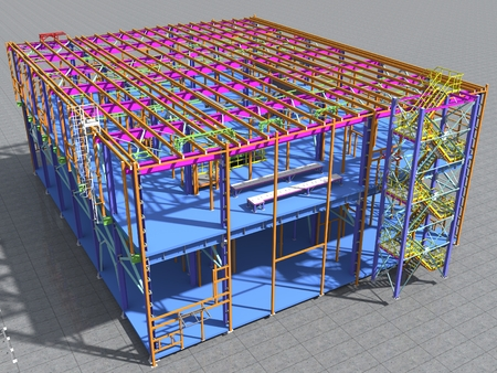 Building Information Model of metal structure. 3D BIM model. The building is of steel columns, beams, connections, etc. 3D rendering. Engineering, industrial, construction BIM background. Stok Fotoğraf