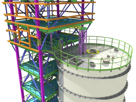 BIM model of a building with a tank made of metal structures. Drawing columns, beams, railings. Building Information Modeling for owners, managers, designers, engineers, and contractors. 3D rendering.