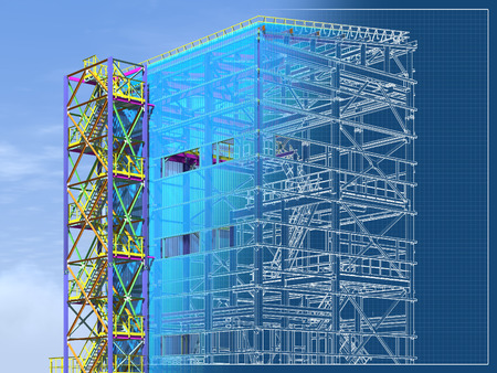 Building Information Model of metal structure. Design technologies of the future. 3D BIM parametric building.Engineering Graphics. 3D rendering.