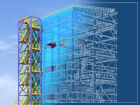 Informations sur le bâtiment Modèle de structure métallique. Les technologies de conception du futur. Bâtiment paramétrique BIM 3D. Graphiques d'ingénierie. rendu 3D. Banque d'images