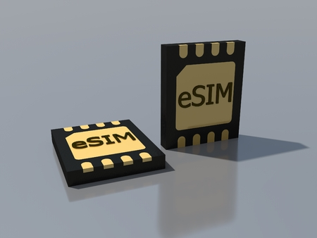 New mobile communication technology 5G network. Smart phone eSIM card chip sign. Embedded SIM concept. Communication technology of the future. 3D rendering. Imagens