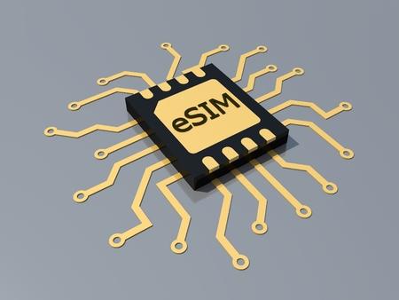 Eingebettete SIM-Karte. eSIM - elektronisches SIM-Telefon neue mobile Kommunikationstechnologie. Neue Mobilfunktechnologie und 5G-Netz. 3D-Rendering.