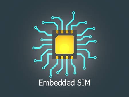 Embedded SIM. eSIM - electronic sim phone new mobile communication technology. New mobile cellular communication technology and 5G network. 3D rendering.