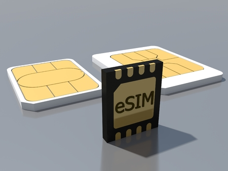 eSIM card standing on old generation SIM card. New mobile communication technology 5G network. Evolution of SIM cards. 3D rendering. Imagens