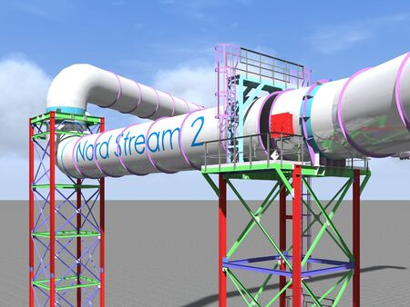 3D rendering. Nord stream 2. BIM model of an engineering project for the construction of the Nord stream 2 gas pipeline. Building Information Modeling.