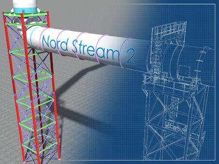 BIM model of an engineering project for the construction of the stream gas pipeline. Building Information Modeling. 3D rendering. Imagens