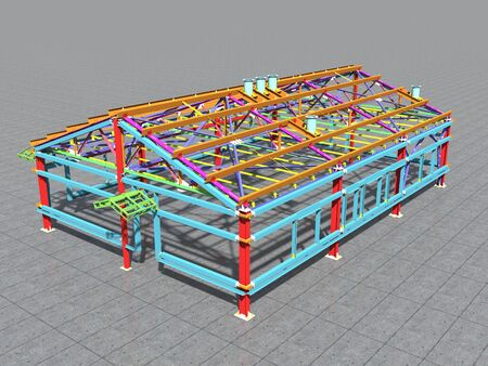 3D BIM model. Building Information Model of metal structure. 3D rendering. The model of a classical building with a pitched roof is made according to the latest design technologies.