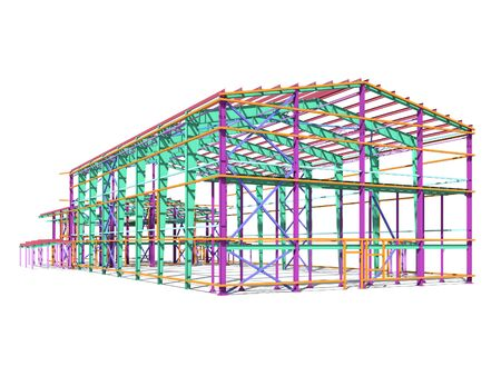 BIM building model of columns, beams, ties, girders. The metal structures are welded and bolted together. 3D rendering. The drawing of the building structure is made by an engineer.