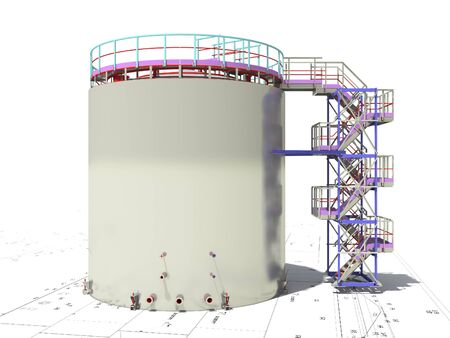 BIM project of an industrial oil storage tank for oil and gasoline. 3D rendering. Refinery. Model and drawings of the building made by engineers.