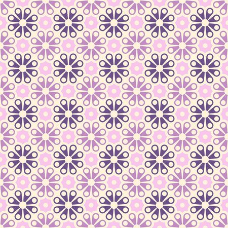Colored geometric vector seamless pattern in purple and pink tones. For printing on textiles, glass, ceramics. 矢量图像