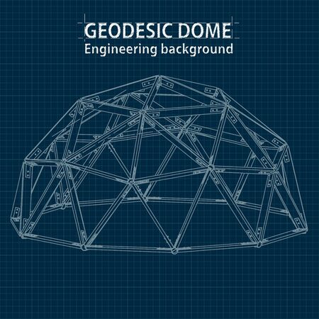 Axonometric drawing blueprint geodesic domes with lines of building. Vector.