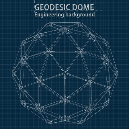 Drawing blueprint geodesic domes with lines of building. Vector EPS10. Vettoriali