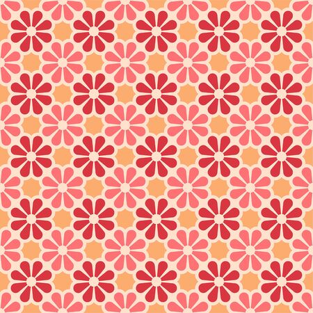 Vector colored seamless geometric pattern in red, yellow and pink. For printing on textiles, glass, ceramics.