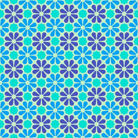 Vector colored geometric seamless pattern in blue, Indigo and violet. For printing on textiles, glass, ceramics.