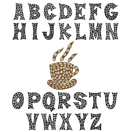 The letters of the coffee beans are hand-drawn. Coffee font. Vector EPS8.