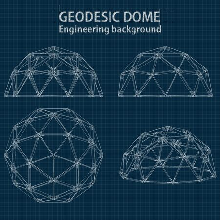 Drawing blueprint geodesic domes with lines of building. Vector EPS10.