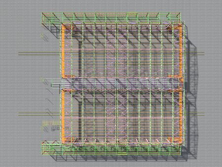 BIM-project of an industrial production frame of a building . 3D rendering. The structural model and drawings of the building were made by engineers. Structural engineering.
