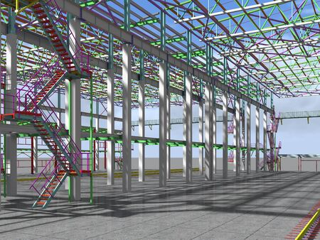 BIM-project of an industrial production frame of a building . 3D rendering. The structural model and drawings of the building were made by engineers. Structural engineering. 免版税图像
