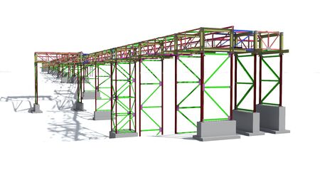 BIM model structure of a steel overpass for laying industrial electrical networks of power plants and factories. 3D rendering.