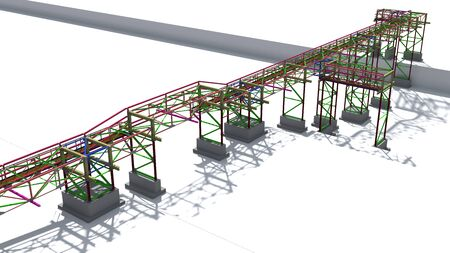BIM model structure of a steel overpass for laying industrial electrical networks of power plants and plants on terrain. 3D rendering.