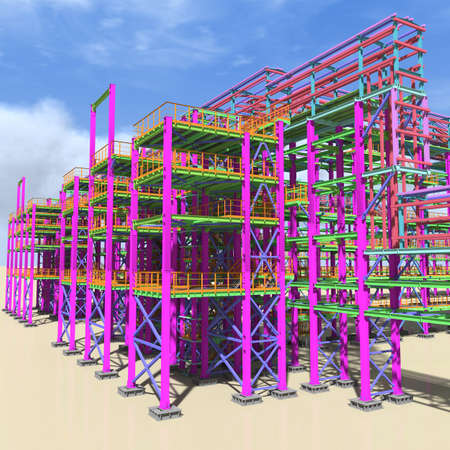 Structural BIM model of a large industrial building. Presentation of BIM design and construction technology for the construction customer. 3D rendering. Stock fotó