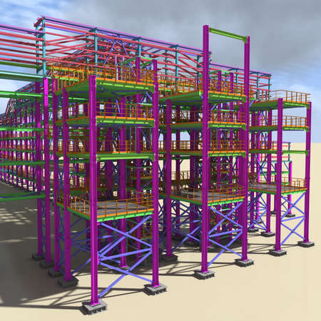 Structural BIM model of a large industrial building. Presentation of BIM design and construction technology for the construction customer. 3D rendering.