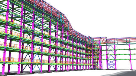 Presentation of the BIM model for the construction customer and contractor. Development of project drawings based on the BIM model. 3D rendering. Archivio Fotografico