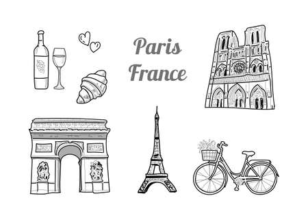 Hand drawn vector illustration - line drawing symbols of Paris, France: Eiffel Tower, Notre Dame Cathedral, Triumphal Arch on the Champs Elysees, wine, croissant and bicycle with flowers